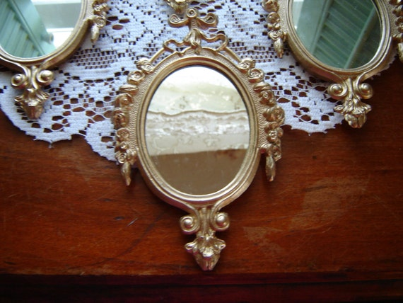 Gold mirror metal mirror made in italy small wall by for Small gold mirror
