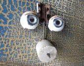 Antique Composition Doll Eyes Rocker Eyes Sleepy Eyes Blue  No.003