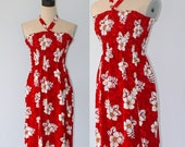 Vintage Hawaiian Dress . Red Smocked Halter Floral Hawaii Sun Dress . Summer Luau Sleeveless Mini Dress . Size Extra Small
