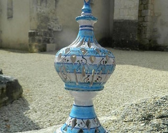 Light blue and white candle holder