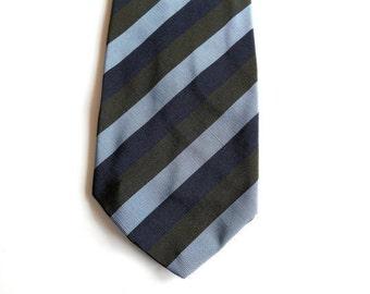 "Irish Poplin Mens Striped Necktie - Atkinsons - Wide Diagonal Collegiate Stripes - 3 3/8"" - Blue Green - Silk Wool Blend"