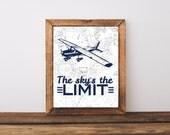 Rustic nursery decor, vintage plane art print, vintage airplane nursery, sky's the limit art, airplane wall art, nursery boys art, A-1131