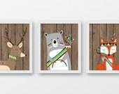 Tribal nursery decor, tribal animals nursery art, woodland decor, hunting decor, rustic nursery wall art, fox bear deer art prints, A-3053