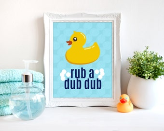 rub a dub dub bathroom art, ducky bathroom print, bathroom kids decor, kids art, bathroom art print, duckling bathroom poster, A-1118