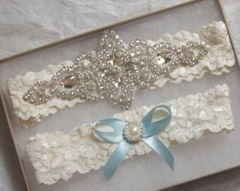 Wedding Garter, Bridal Garter, Garter Set - Crystal Rhinestone & Pearls-Vintage style