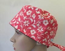 Surgical Scrub Cap - Orange with White Flowers scrub cap - Arabesque Scrub Hat - unisex scrub hat - unique scrub cap