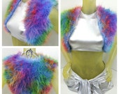 MADE TO ORDER tie dye hippie furry vest blue pink purple turquoise green yellow orange rainbow rave music festival accessories cropped top
