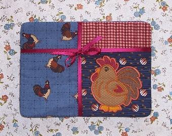 Chicken Fabric Snack Mat Mug Rug Set Appliqued Rooster Set of 4