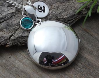 Solid STERLING SILVER Locket - Heirloom Locket . Round Locket Necklace - Large Locket Jewelry- R-4