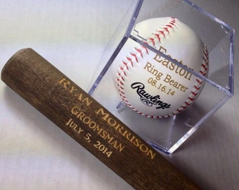 Groomsman Gift Idea - Baseball & Acrylic Case/Bat Set - Engraved or Personalized Baseball - Ring Bearer Gift - Junior Groomsman Gift Idea