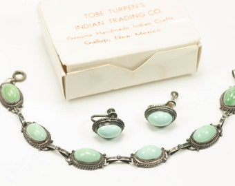 Tobe Turpen Turquoise and Sterling Bracelet Earrings 1950s
