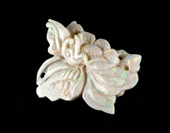 Carved opal lotus flower gemstone