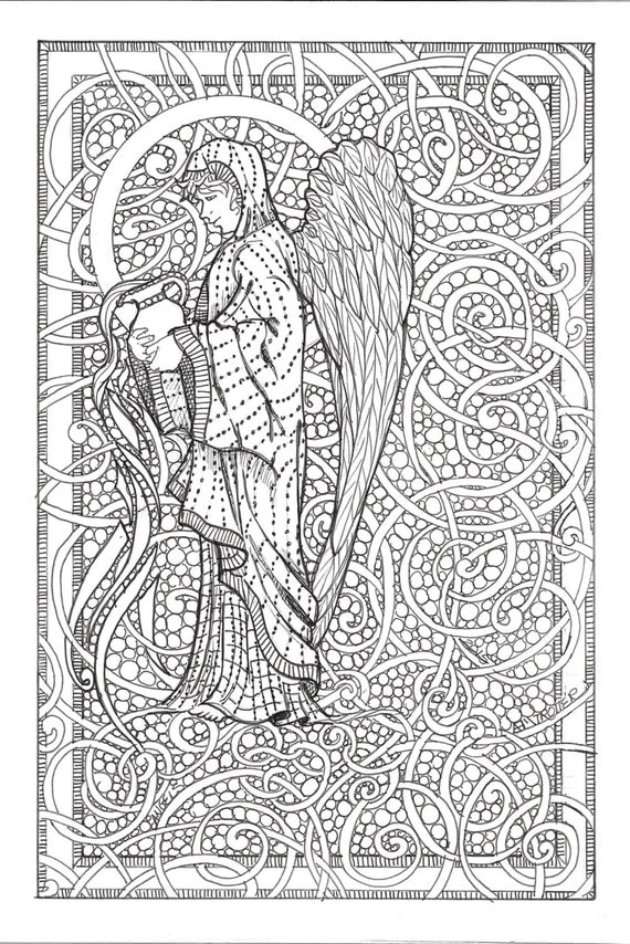 Adult Coloring Pages Guardian Angels