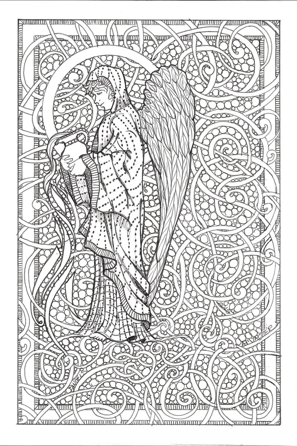 coloring book pages angels - photo#34