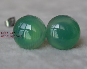12mm green agate earrings,big green agate stud earrings,agate earrings stud,birthday lucky stone,Cabochon Gemstone post studs,stone earrings