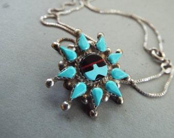 southwest Zuni petit point turquoise sun face pendant necklace