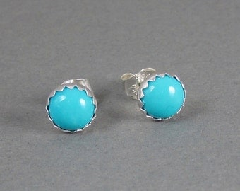 Classic Sleeping Beauty Turquoise stud earrings - turquoise post earrings