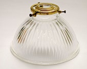 Vintage Ribbed Glass Holophane Style Pendant Lampshade with Brass Fitting
