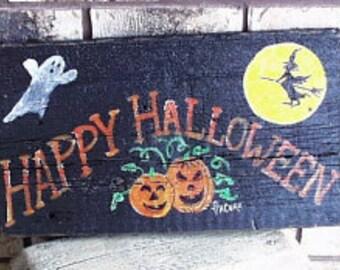 Happy Halloween Sign..Wooden Sign