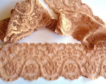 Elastic Scalloped Lace Trim, Nude, 3 inch wide, 1 yard, For Accessories, Apparel, Home Decor, Gifts, Mixed Media