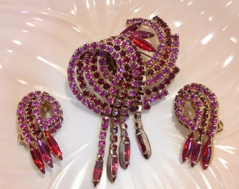 Pink and Red Rhinestone Juliana Brooch and Matching Clip Earrings
