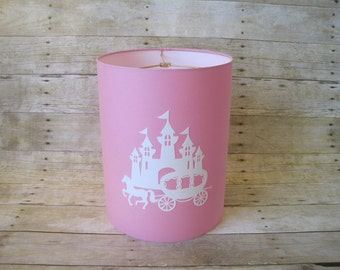 Lamp Shade Princess Castle Drum Lampshade in Pink and White