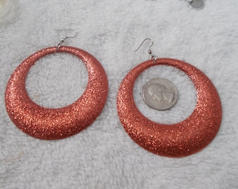 Vintage Retro Pierced Earrings - Glittery Hoops- R3881