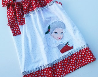 Christmas Frozen Elsa Inspired Pillowcase dress Only  Sizes 0-6mo, 6-12mo, 12-18mo, 18-24mo, 2t, 3t, 4t, 5/6, 7/8, 9/10