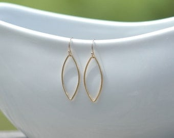Gold Petal Earrings, Simple Gold Leaf Earrings, Minimal Everyday Dangle Earrings, Silver Dangle Earrings