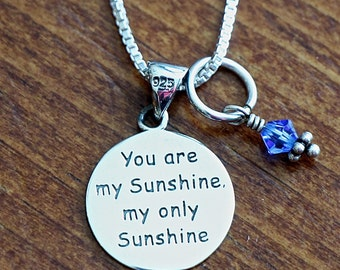"""You Are My Sunshine Necklace- Sterling Silver- """"You are my sunshine. My only sunshine."""" Gift- Little Girl Jewelry- Christmas Gift"""