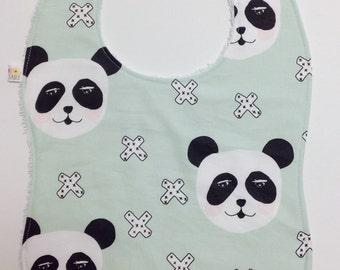 Baby Toddler Bib Panda Mint