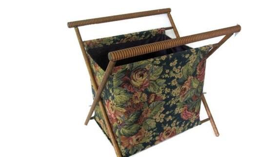 Vintage Folding Knitting Basket : Vintage large knitting basket sewing caddy caddie folding