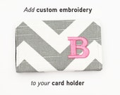 Add Embroidery One Letter or Monogram, Initials (for business card holders only) to your order, choose thread color and monogram style