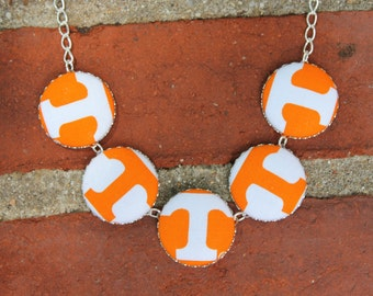 University of Tennessee Fabric Covered Button Necklace