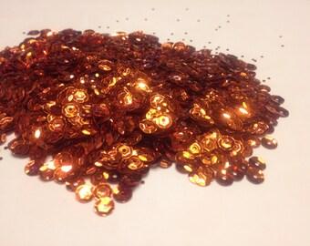 250-300 orange sequins / confetti, 5 mm (18)