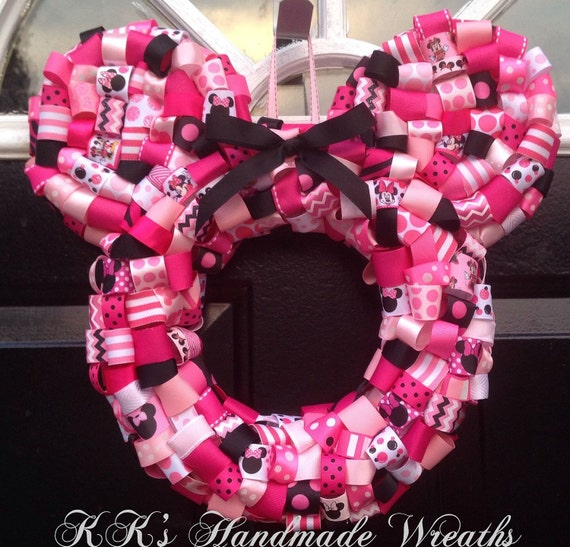 Minnie Mouse Ribbon Wreath 14""