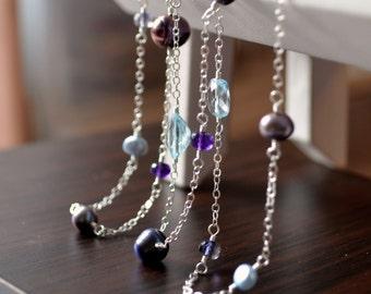 Long Silver Necklace, Pearl, Amethyst Iolite Gemstones, Boho Bride, Wedding Jewelry - Silver Peacock - Free Shipping