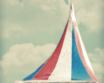 carnival photography - whimsical - summer fair photo - red white blue - summer - teal sky - jersey shore