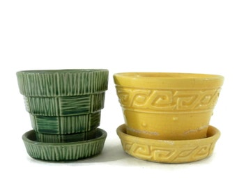 Pair McCoy Flower Pots Yellow Greek Key and Green Basketweave with Attached Drip Trays