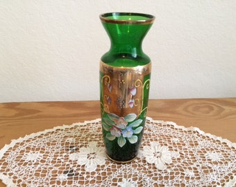 SALE!!!-Vintage Hand Painted, Green Glass Norleans Vase, with Strong Gold Details