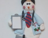 Personalized Christmas Ornament of a Snowman doctor. Polymer Clay Ornament, Christmas Ornament, Handmade