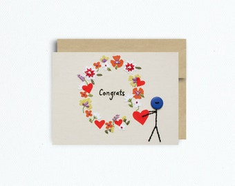 NEW Congratulations Card -Wedding Card with Mr. Buttonman
