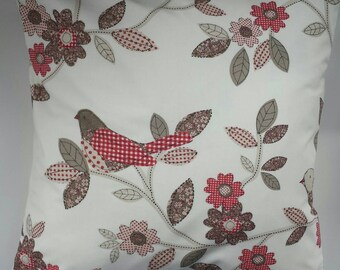 Cushion Cover in Red Patchwork Bird 16""