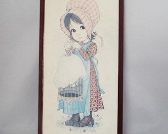 Vintage Big Eye Girl Print, Plaque, By Ward