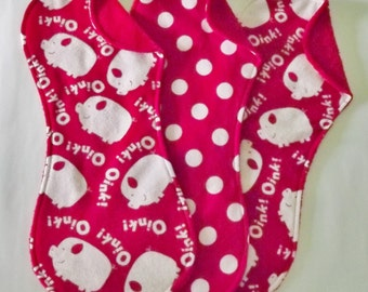 Bright Red Piggy Burp Cloth Set in Terry and Flannel