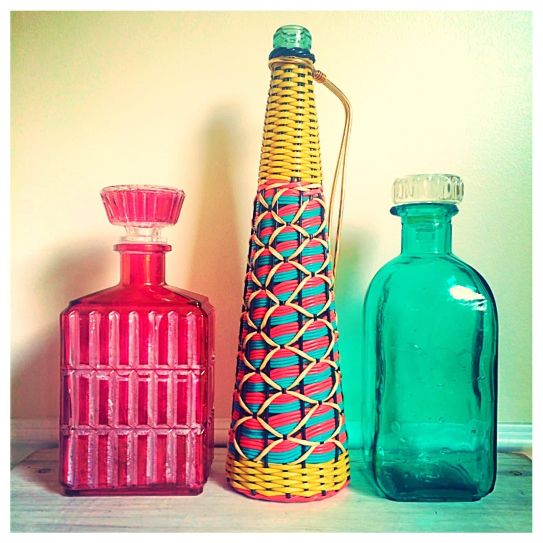 Antique Bottle Display: Large Vintage Colorful Bottles / Red Large Display Bottle