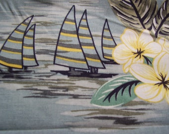 Vintage Tropical Sailboat Floral Fabric