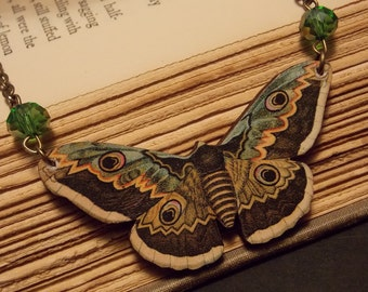 Brown and Green Wooden Moth Statement Necklace