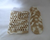 A Set of 5 Beige and White Crochet Face Scrubbies/Facial Scrubbies/Cotton Pads/Cleansing Pads and Laundry Bag - 100% Cotton-Ready to Ship