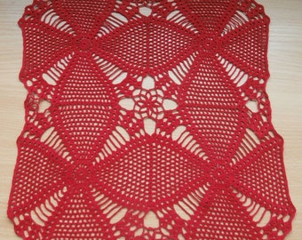 Red crochet doily, square doily, lace doily, home decor, table decoration, 14x14 inches, Doilies, Vintage, Centerpiece, Table topper